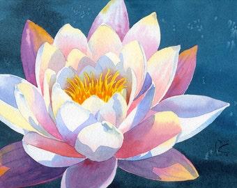 ORIGINAL. Watercolor. Waterlily. Flower