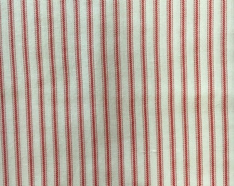 Light Weight Printed Cotton of Red Stripes on White Background, #dr124