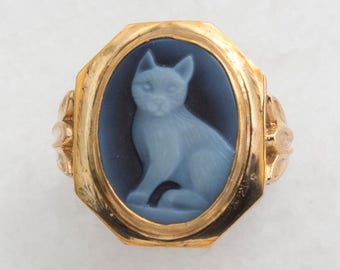 Retro Cool Cat cameo ring
