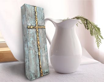 Abstract cross gold painting | original small Christian wall art | 4 x 12 | by Vanessa Multon