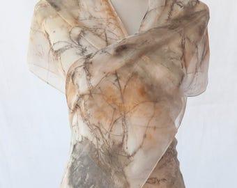 Hand Eco Dyed Chiffon Silk Scarf - Eco Print Maple