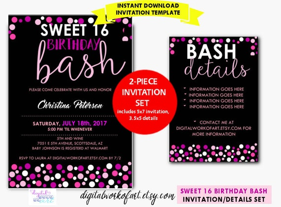 Sweet 16 birthday party invitation template diy editable sweet 16 birthday party invitation template diy editable sweet 16 birthday 16th birthday digital download details card invite polka dots stopboris Image collections
