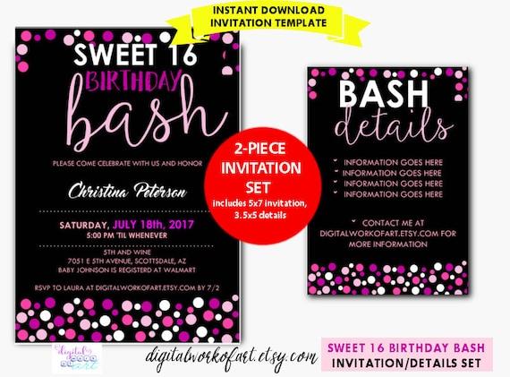 Sweet 16 Birthday Party Invitation Template DIY Editable – 16th Party Invitation Templates