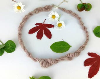 Unique hand made art yarn necklace hand spun naturally dyed soybean vegan necklace sterling silver findings for knitters crocheters UK