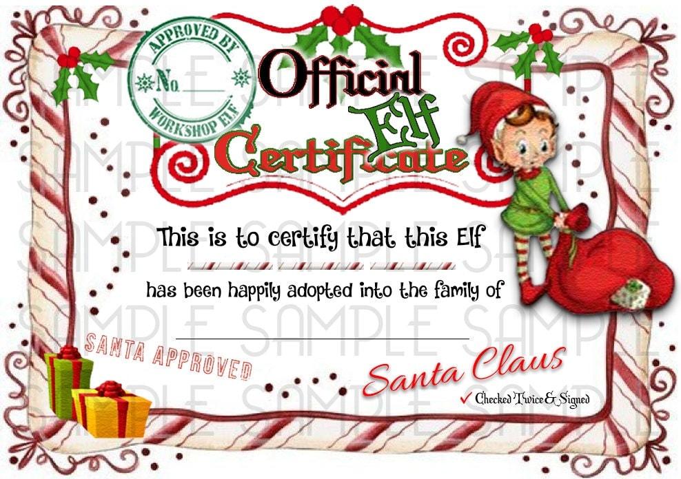 elf shelf amp rudolph reindeer adoption certificate digital - Elf Adoption Certificate Template