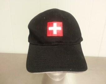 Vintage 90's Switzerland Strapback Dad Hat Tourist Cap Swiss Flag