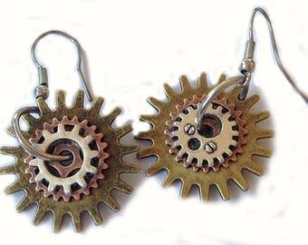 Steampunk earrings gearwheels / Ohrringe