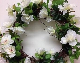 Whimsical Wreath – Small Wreath – Azalea Wreath – White Flowers – Wedding Wreath - One of a Kind Wreath – Spring Wreath