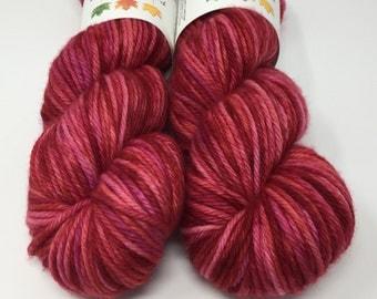 Sale! Hand Dyed Yarn -  Chunky - Cranberry- 100% Superwash Merino Wool Yarn