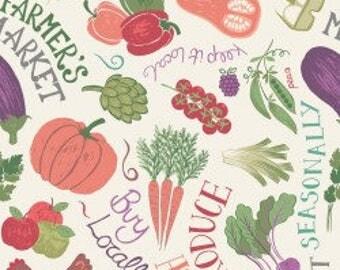 Farmers Market Toss Print, Lewis & Irene, Cream Garden Veggie, Sewing, Green, Food 100% Cotton, Choose Your Cut