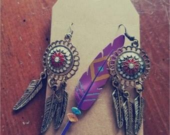 Gold dream catcher earrings