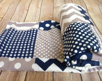 Navy Blue and Grey Baby Blanket, Minky Blanket, Nursery Decor, grey, gray, navy, navy blue, nautical, Chevron, Nursery Decor