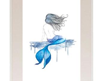 Mermaid Watercolour Print // Art Print // Watercolour // Wall Art // Illustration