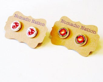 USMC Earrings- Marine Jewelry- Marine Earrings- Marine Corps Gift- Military Gift- Military Jewelry