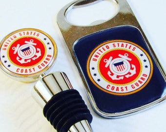 Coast Guard Gift- Coast Guard Barware- Coast Guard Bottle Stopper- Coast Guard Bottle Opener