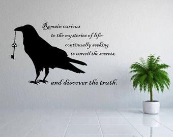 raven decal, raven wall art, raven wall decor, curiosity decal, crow decal, crow wall art, crow wall decor, raven vinyl decal, raven decor