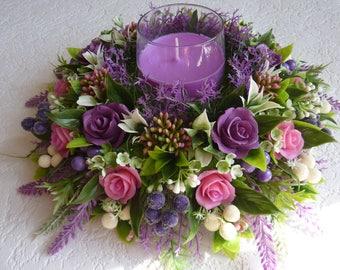 Flower arrangement,wedding candle,aroma candle,birthday gift,artificial flower arrangement,cold porcelain,lavender,bridal gift,violets,pink