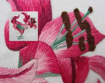 Coq lis, hand embroidery, needle painting
