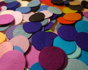 "Wool Felt Circles, 100% Merino Wool, 0.4"" 0.6"" 09"" 1.2"" or 1.6"", pure wool felt, die cut circles, choose your own colors and quantity"