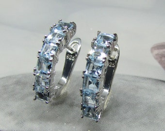 Earrings 925 sterling silver and Blue Topaz natural stones and jewelry fine silver jewelry gift ideas. 25% with code: SOLD17