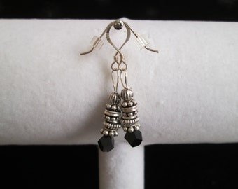 Bali Style Sterling Silver and Black Crystal Earrings