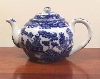 Vintage Blue and White Teapot Asian Themed