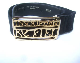 SONIA RYKIEL Inscription Gilt Buckle Black Spandex Belt