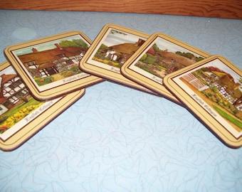Vintage English Cottage coaster set
