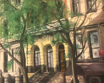 "Original Acrylic Street Scene Oil on Stretched Canvas Painting / Brownstone in Brooklyn / 18"" X 24"""