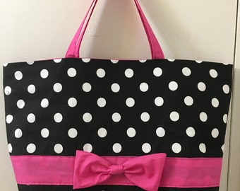 Black, white & pink polka dot tote bag with bow
