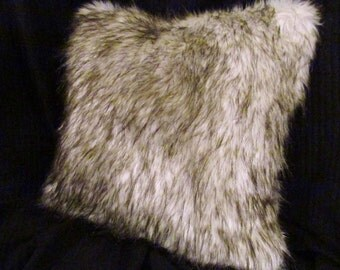Brown and White Faux Fur Pillow Cover with an invisible zipper closure