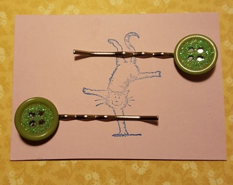 Handmade set of two green glitter button bobby pin hair clips