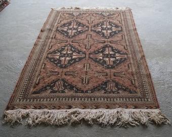 4'7''x7'9'' Vintage Kilim Rug, Handwoven Caucasian Soumak Rug