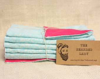 Blue Swirl and Hot Pink Reusable Napkins