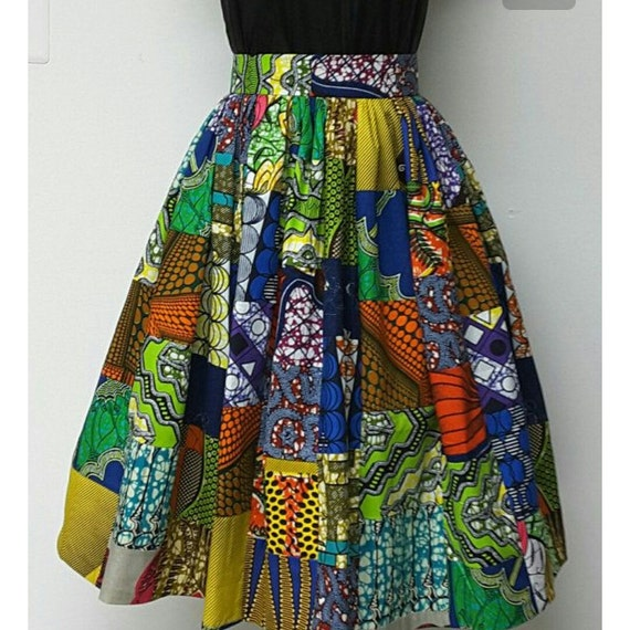 colorful patchwork midi wrap around skirt for plus size