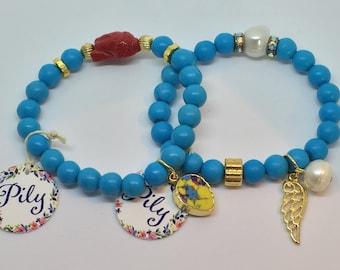 Handmade  Set of 2 Blue Magnesite & Red Buda Stretch Bracelet