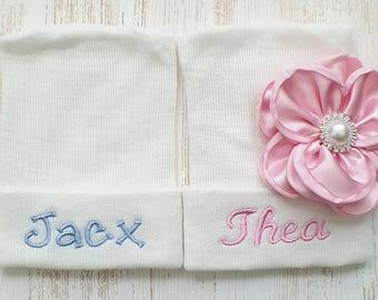 Twin hospital hats- newborn hats, newborn beanies, baby twins, newborn twins, twin girls, twin boys, twin gifts, personalized twins
