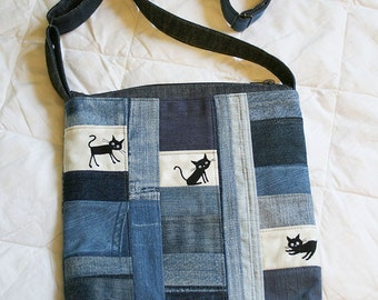 denim bag with cats