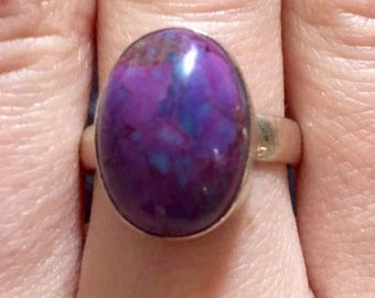 Purple Stone Ring Sterling Silver Size 8