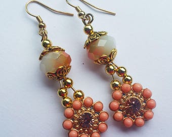 Peach and gold flower dangle earrings with 12x9 mm Sand opal AB glass crystal, gold bead caps.