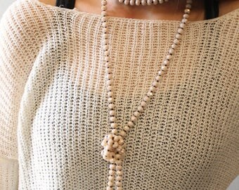 Blush Hand Threaded Crystal Beaded Necklace