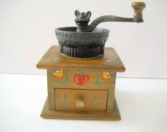 Coffee Grinder with Painted  Wood Design