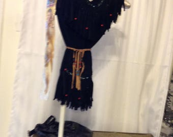 CLOSEOUT  19.95  Indian Girl  1 left  size 4 to 5  this costume is made of black suede cloth with lots of fringe and beading