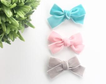 Velvet Bows Pink, Blue, Gray