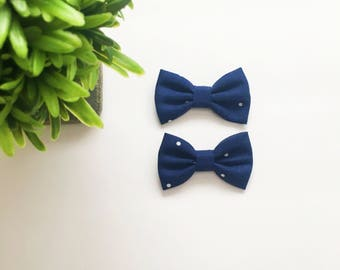 Mini Addi Bows|Navy with White Dots|Pigtail set