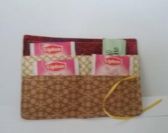 Tea Wallet, Tea Organizer, Tea Bag Storage, Tea Bag Tote, Tea Bag Caddy, Tea bag Wallet,  Tea Purse, Tea Lover Gift, Tea Accessory