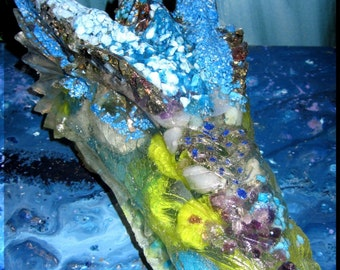 XXL Orgone  Dragon Guardian with with 24 Different Healing Crystals!