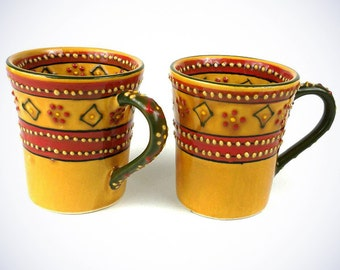Set Of 2 - Hand Painted Flared Mugs In Red