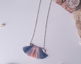 Collar tassels, gray-blue, gray, peach, bohemian necklace