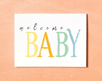 Welcome Baby Card, New Baby Card, Baby Girl, Baby Boy, Instant Download Printable, Baby Gift, Baby Celebrations Card, Baby Congratulations